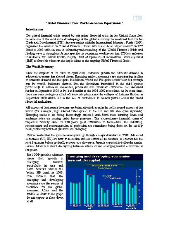 Global Financial Crisis: World and Asian Repercussion